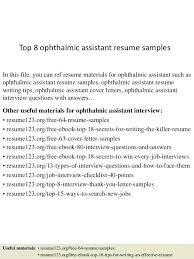 Ophthalmic Assistant Sample Resume Stunning Ophthalmic Technician Resume Samples Ophthalmologist Letsdeliverco