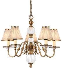 tilburg antique brass 5 light chandelier with beige shades