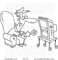 watching tv clipart black and white. cartoon black and white line drawing of a race fan watching tv #4776 by ron leishman clipart