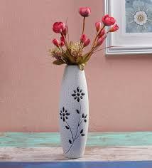 white decorative flower wooden vase