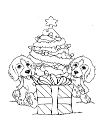 Dog coloring pages christmas tree and gift - ColoringStar