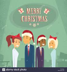 Businesspeople Wear Santa Hat Merry Christmas And Happy New Year