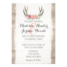 rustic wedding invitations & announcements zazzle com au Formal Rustic Wedding Invitations floral antlers rustic wedding personalized formal card Country Wedding Invitations