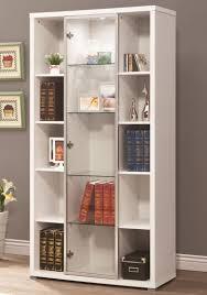 Glass Bookshelf Furniture Amazing White Bookcase With Glass Doors Design Nu