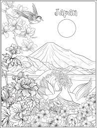 anese landscape with mount fuji sea and anese woman kimono and tradition flowers and a bird outline drawing coloring page coloring book for