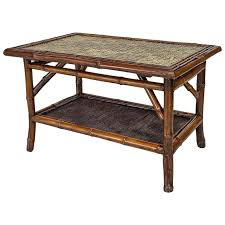 19th Century English Bamboo Tile Top Coffee Table 1 Great Pictures