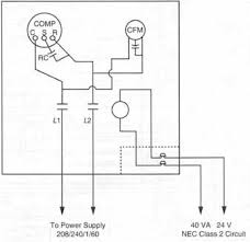 components symbols and circuitry of air conditioning wiring 41 a typical installation diagram to power supply 208 240 1 60 40va 24v nec class 2 circuit