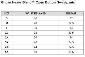 Gildan Open Bottom Sweatpants Size Chart Gildan Heavy Blend Open Bottom Sweatpants Gd383