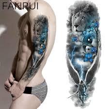 синий лев цветок временные татуировки для женщин плеча татуировки