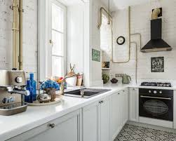 kitchen floor tiles with white cabinets. Small Industrial Eat-in Kitchen Designs - Inspiration For A L-shaped Floor Tiles With White Cabinets I