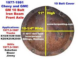 Gm 10 Bolt Identification Chart Parts Tools Manuals For 1977 1991 Gm 10 Bolt Front Axle