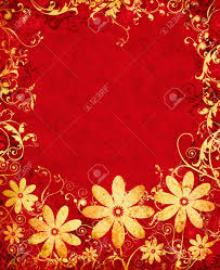 Design Paper Background Flower A Golden Flower Design On A Textured Red Paper Background