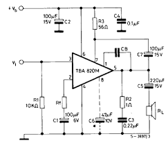 the design of the stella amp crazy but able the example schematic for the tba820m amplifier chip