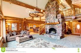 Log Cabin Living Room Design Bright Living Room Interior In American Log Cabin House