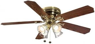 ceiling fan polished brass indoor w 5 reversible blades and light kit