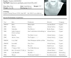 Child Actor Cv Template Uk Resume Theater Sample Acting For Word