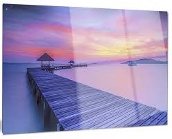 long wooden bridge into the sunset glossy metal wall art  on lavender sunset wall art with long wooden bridge into the sunset glossy metal wall art