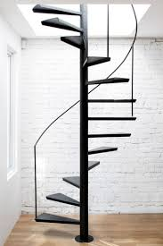 Cool Floating Black Iron Spiral Staircase With Round Base Plate And  Handrail, Fascinating Interior Staircase