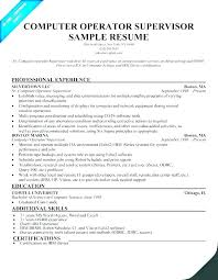 resume format for computer operator bindery supervisor sample resume ruseeds co