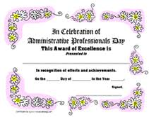Administrative Professional Certificate Administrative Professionals Day Certificate Of Appreciation