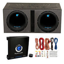 car subwoofers 2 planet audio 12 1800w subwoofers vented lined box enclosure amp wire