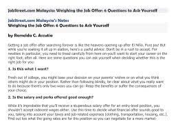 Jobstreet Com Malaysia Weighing The Job Offer 6 Questions To Ask