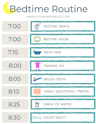 Bedtime Routine Chart Printable Back To School Routine Free Printable You Are More Blog