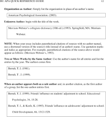 Apa Quick Reference Style And Formatting Guide Includes Belhaven