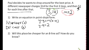 point slope word problems you form worksheet doc maxresde