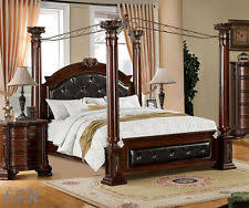 NEW MANDALAY ELEGANT LEATHERETTE BROWN CHERRY FINISH WOOD QUEEN KING CANOPY  BED