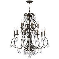 crystorama lighting group ashton english bronze 12 light chandelier with hand cut crystal