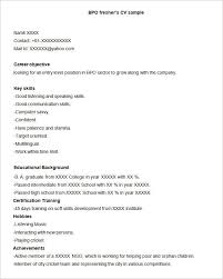 Bpo Resume Template 22 Free Samples Examples Format