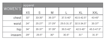 Women S Jean Size Chart Pearl Izumi Size Chart