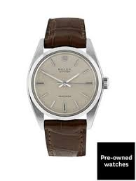 pre owned mens watches gifts jewellery very co uk rolex steel oyster perpetual silver linen 34mm dial aftermarket brown strap mens watch pre owned