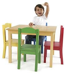 Kids Activity Table and Chair Set 5 Piece Wood Colorful Toddler Play Desk  Child