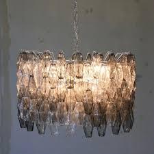 mid century italian clear grey murano glass chandelier by carlo scarpa