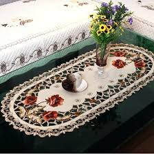 oval embroidery table cloth tablecloths hollow coffee design mats full size