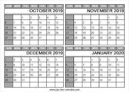 October 2019 To January 2020 Calendar Four Month Calendar