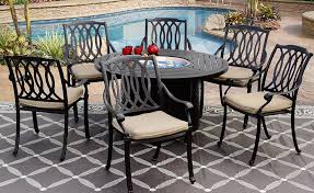 san marcos outdoor patio 7pc set 50 inch round dining fire table com
