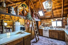 log cabin rustic home interior kitchen ladder