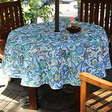 do4u waterproof table cloth indoor outdoor tablecloth with zipper and umbrella hole 60 round blue