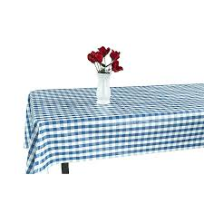 48 inch round vinyl tablecloth home blue checd design indoor outdoor with non woven backing