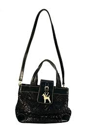cord black woven leather bag with poodle charm italy