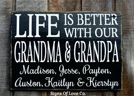 wall plaque with sayings personalized life is better with our grandma grandpa kids children names family wall plaque with sayings