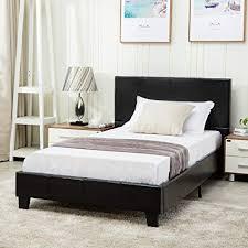 Amazon.com: Mecor Faux Leather Bonded Platform Bed Frame/Upholstered ...