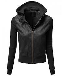 women s hood sleeve fleece contrast bike rider faux leather jackets