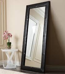 mirrors  delano black leather floor mirror