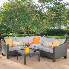 laurel foundry modern farmhouse coline 6 piece rattan sectional set with profile tv stand outdoor sofa