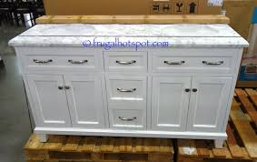 costco double vanity. Interesting Costco A Very Nice Feature Of This Charming Vanity Is The Hair Dryer Holder  Located In Bottom Drawer Costco Has 60u2033 Double Sink Wood Vanity White With  With 2