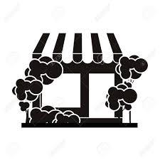 白黒スーパー マーケットと歩道のベクトル図の木シルエット